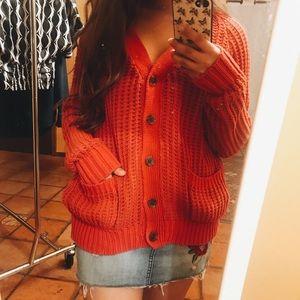 UO Fire Orange Knit Cardigan Sweater